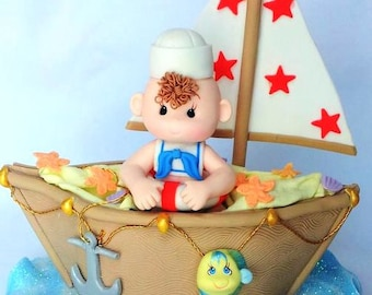 Sailor Cake Topper Decoration Sail Boat Ahoy Its A Boy Nautical Baby Sailboat