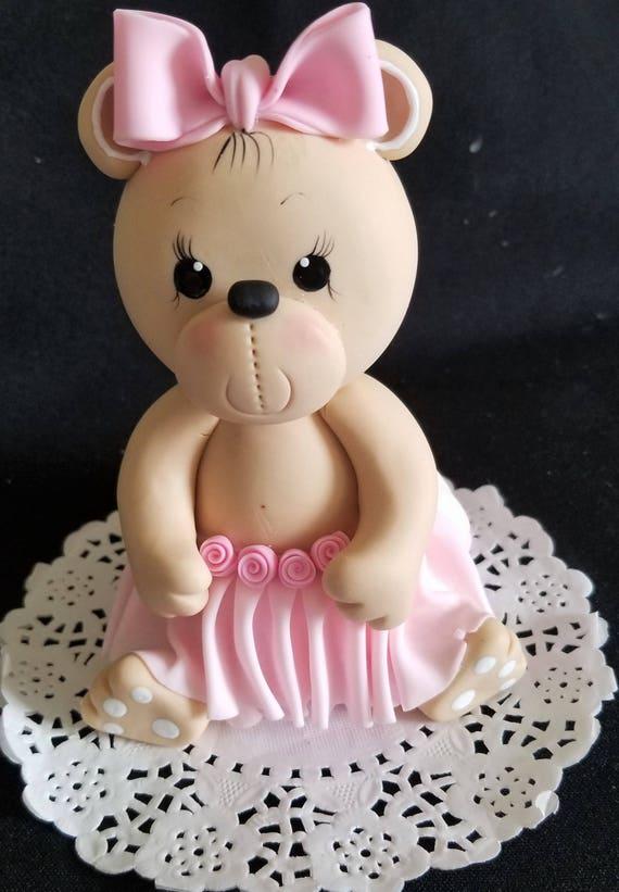 Bears Cake Topper Twins Bear Toppers Baby Girl Bear Cake Etsy