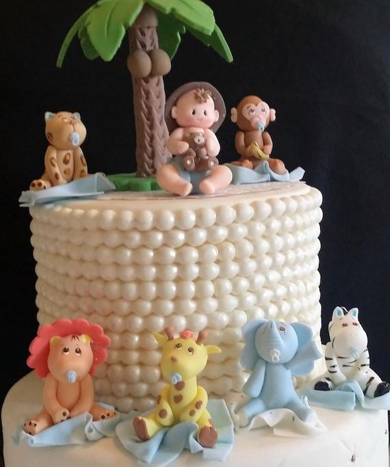 Blue Safari Baby Shower Jungle Birthday Pink Safari Cake Etsy