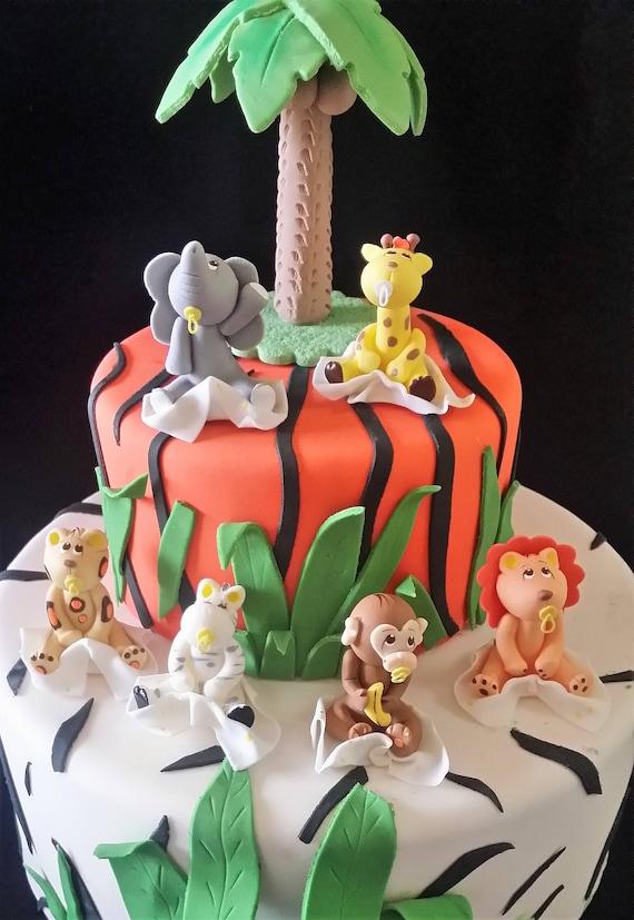 Terrific Jungle Baby Shower Safari Animals Zoo Cake Toppers Jungle Etsy Funny Birthday Cards Online Amentibdeldamsfinfo