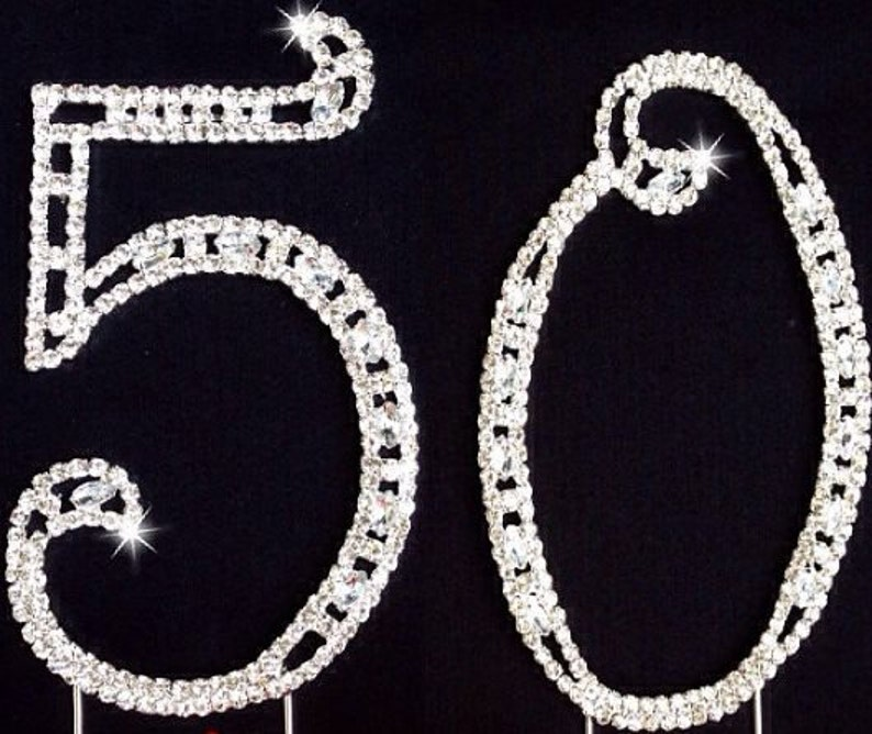 Birthday Number Cake Topper 50th Silver Rhinestone