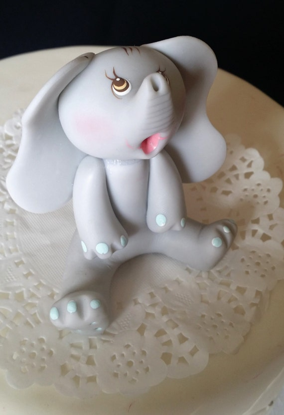 Gray Elephant Cake Topper Gray Elephant Baby Shower Etsy
