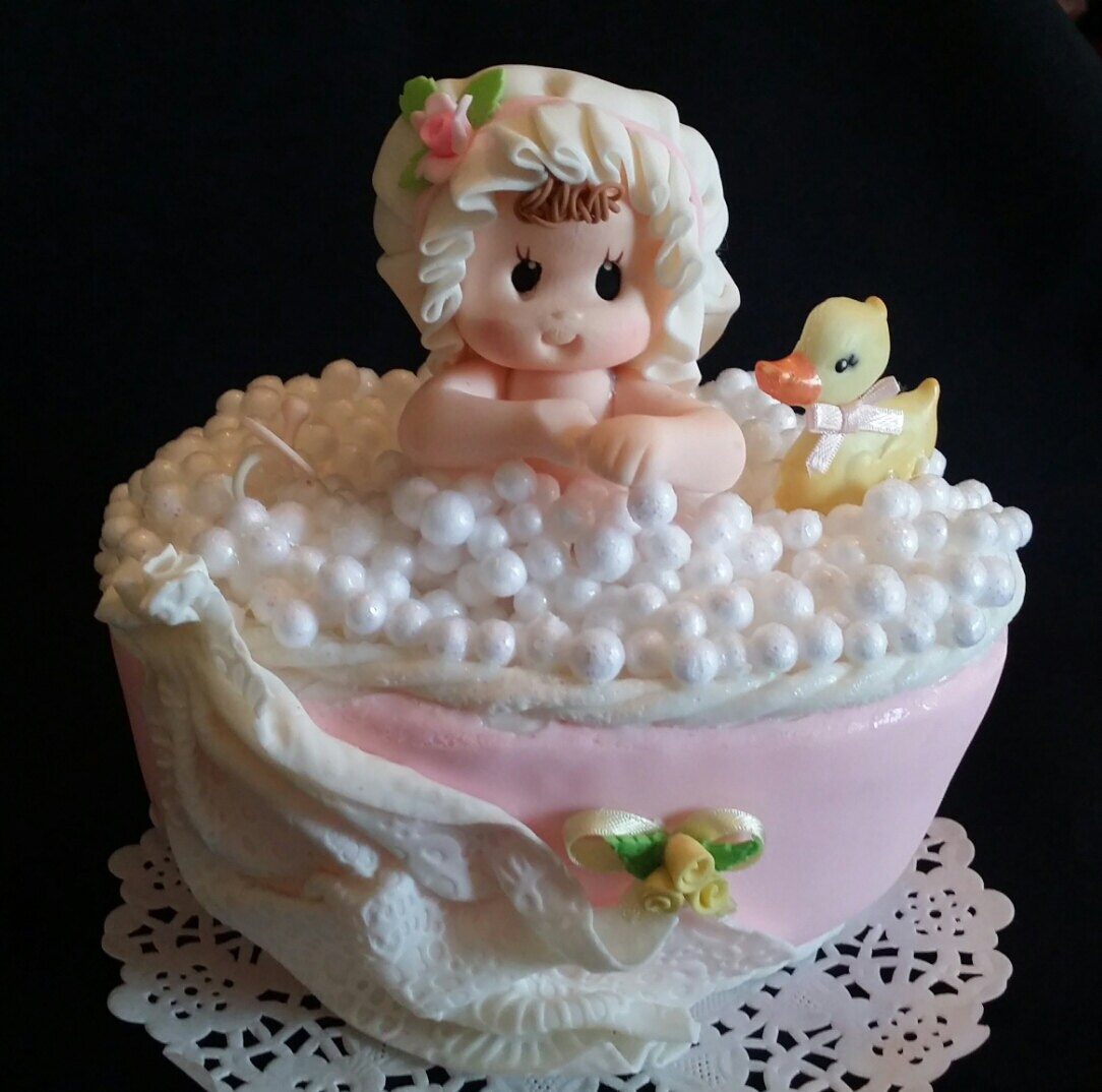 Baby Girl Baby Shower, Pink Baby Shower, Baby on Bath Tub, Baby Boy ...
