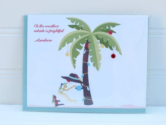 Beach Christmas Card Palm Tree Christmas Card Beach Snowman Etsy