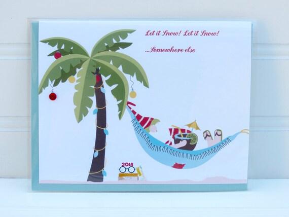 Beach Santa Card Palm Tree Christmas Card Beach Christmas Etsy