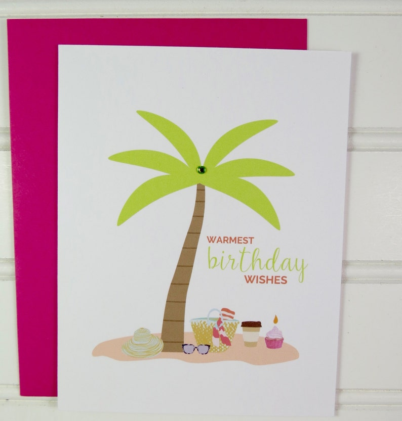 Beach Birthday Card Summer Birthday Tropical Card for Mom image 0