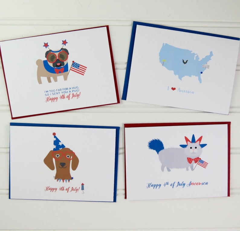 4th of July Cards Fourth of July Dog Card Pug Card Miss image 0