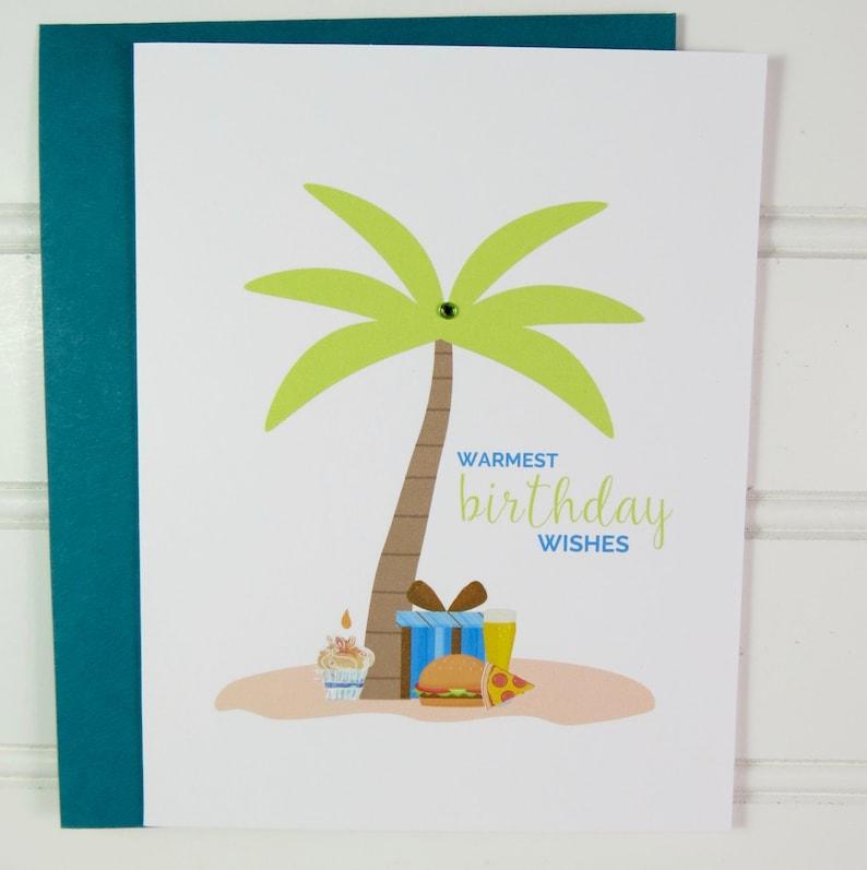 Tropical Beach Birthday Card Card for Him Summer Birthday image 0