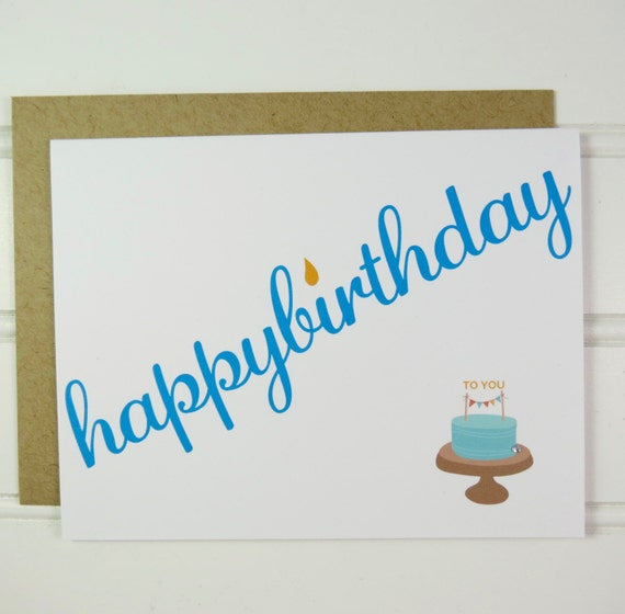 Happy Birthday Cake Card For Her Him Best Friend BFF