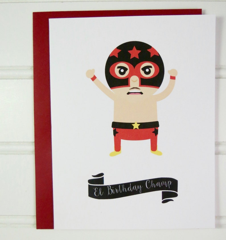 Lucha Libre Birthday Card Mexican Wrestling Card for image 0