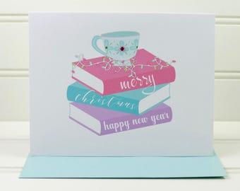 Book Christmas Card, Christmas Books Card, Tea Card, Christmas Card for Book Lover, Tea Drinker, Book Club, Student, Teacher, Reader, Writer