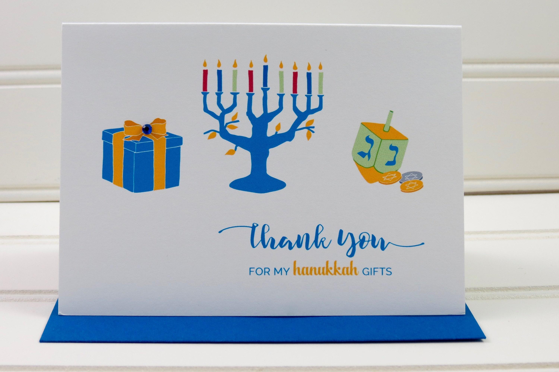 Hanukkah Thank You Card Hanukkah Card Thank You For My Etsy