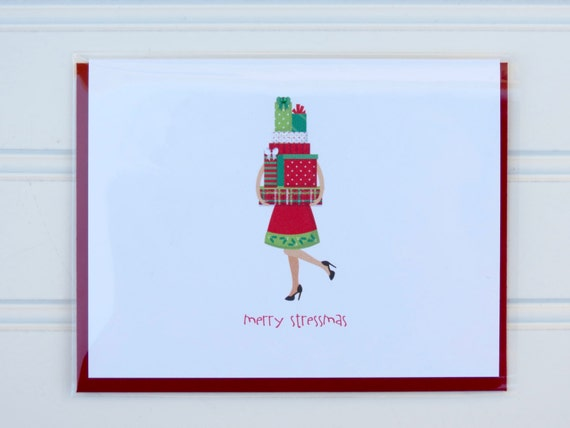 Funny christmas card merry stressmas card for mom wife etsy image 0 m4hsunfo