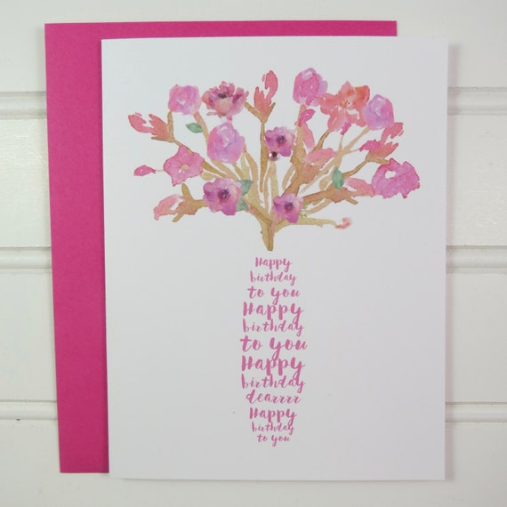Happy Birthday Song Card For Her Mom Mother Wife Etsy