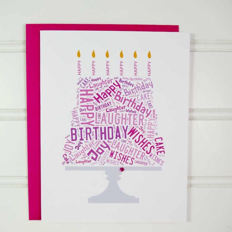 Cake Birthday Card Pink Birthday Card for Mom Mother Wife image 0