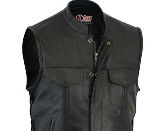 b14f63800 Real Leather Motorbike Cut Off Vest With Chrome Biker Sons of Anarchy Laced  up
