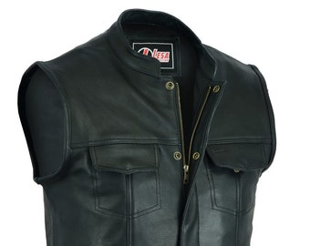 9921406a NEW Motorcycle Motorbike Cut Off Vest With Chrome Leather Biker Sons of  Anarchy