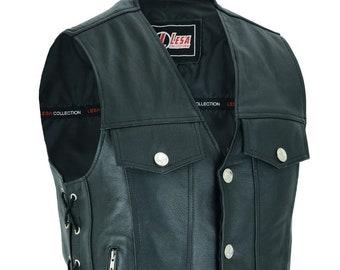 Mens Leather Waistcoat Son Of Anarchy Motorcycle Cordura Trim Biker Club Vest