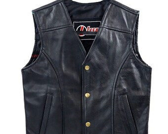 Ladies Real Leather Laced Up Motorcycle Biker Waistcoat Womens Gillette Vest 12
