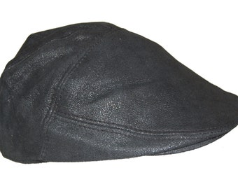 0f5c65d100d939 Real Leather Ivy Cap Distressed Leather Gatsby Newsboy Black Flat Cap/ Hat