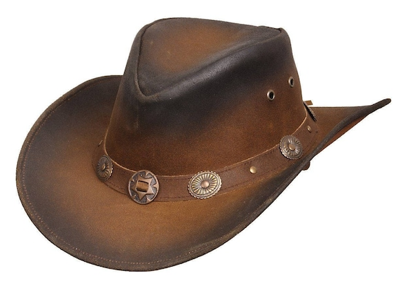 11f69f630ae Leather Tan Cowboy Western Aussie Style Hat Conchos