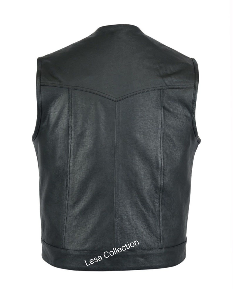 Motorcycle Motorbike Cut Off Vest With Chrome Leather Biker Sons of Anarchy Style