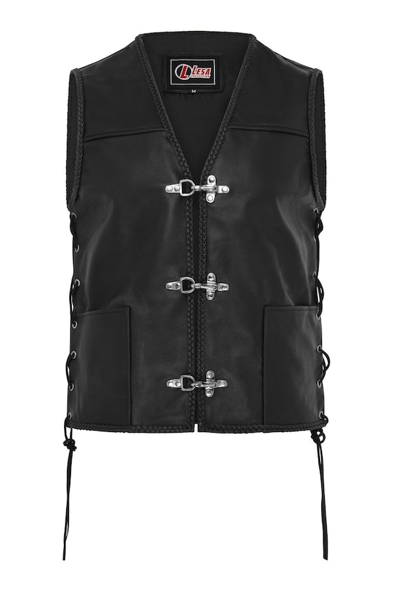 ARD® Men's Sons of Anarchy Motorbike Real Leather Full Grain Cut Off Waistcoat