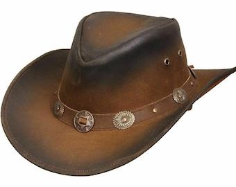 Kids Children's Western Real Leather Tan Brown Cowboy Bush Hat Fancy Dress
