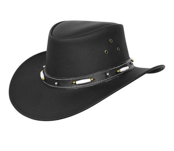 Bush Hat Black Leather Cowboy Western Aussie Style Australian Style Rain Proof