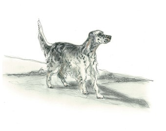 English Setter Dog Art Vintage Style Print