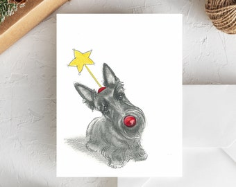Scottish Terrier Holiday Card | Scottie Dog Christmas Card