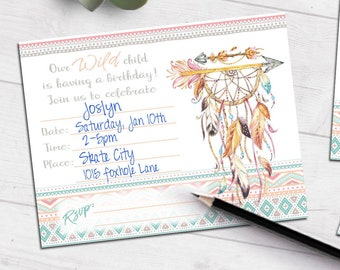 Boho Tribal Birthday invitation   dream catcher ethnic indian   blank printable invite   fill-in party invitation   #4012 Instant Download