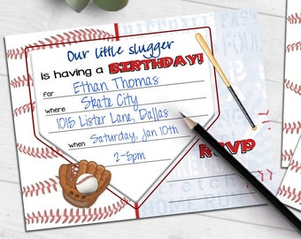 Baseball Slugger Birthday invitation   little slugger bat glove   blank printable invite   fill-in party invitation   #4006 Instant Download