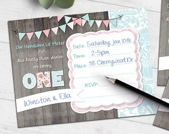 Shabby Chic Twin Birthday invitation   handsome mister twin sister   blank printable invite   fill-in party   #4015 Instant Download