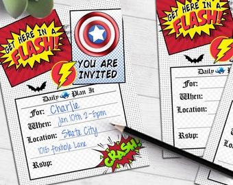 Super Hero Birthday invitation   flash bat captain heroes comic   blank printable invite   fill-in party invitation   #4010 Instant Download