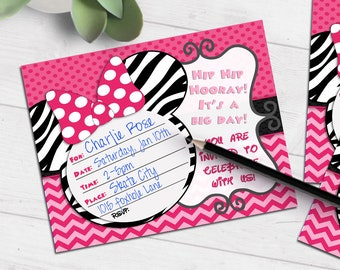 Mouse Ears Birthday invitation   minnie bow polka dots zebra   blank printable invite   fill-in party invitation   #4014 Instant Download