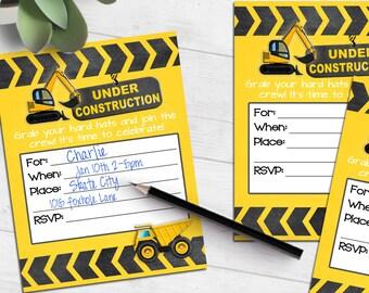 Under Construction Birthday invitation   dump truck back hoe   blank printable invite   fill-in party invitation   #4011 Instant Download