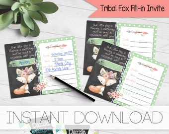 Tribal fox Birthday invitation   watercolor floral feathers   blank printable invite   fill-in party invitation   #4008 Instant Download
