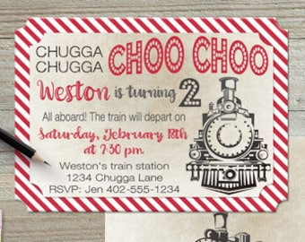 Chugga Chugga Choo Choo | vintage train birthday invitation | retro distressed rustic red | #120 5x7 linen pearl Professional prints