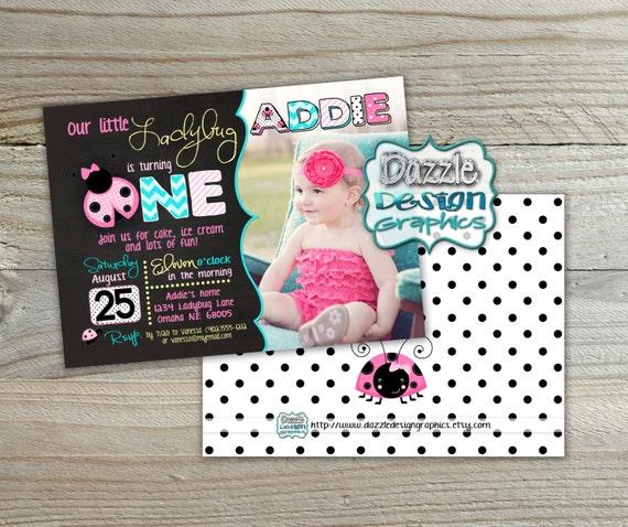 Pink Ladybug 5x7 Birthday Invitation First Or Second