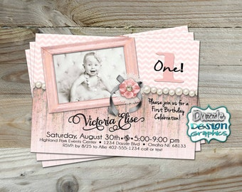 Printable Shabby Chic Rustic Birthday Invitation, pink, purple or turquoise glam girls birthday invite, #209 Digital File
