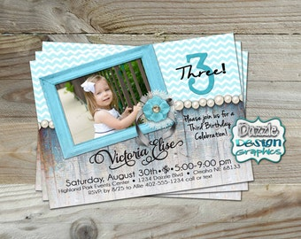 Printable Shabby Chic Rustic Birthday Invitation, pink, purple or turquoise glam girls birthday invite, ANY age!  #207 Digital File