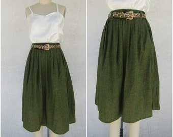 f837c86ff 60s Olive Green Print High Waist Cotton Midi Skirt | Hand Sewn Handmade One  of a Kind 1960s Day Skirt | M 26 to 30