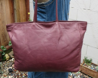 Burgundy Leather Tote Shopper 70s 80s Vintage Satchel Book Bag Carry All 1970s 1980s Made in USA