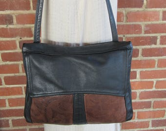 90s Leather Tote, Black and brown leather tote, 1990s 1980s 80s Vintage Leather Tote bag purse Handbag Satchel