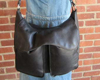 80s Black Oiled Leather Hobo Slouch Bag Organizer Purse Tote Handbag Satchel Vintage 1980s Grease Leather 1990s 90s Minimalist