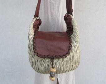 169f9bc4aa23 1990s Raffia and Leather Tote Bag