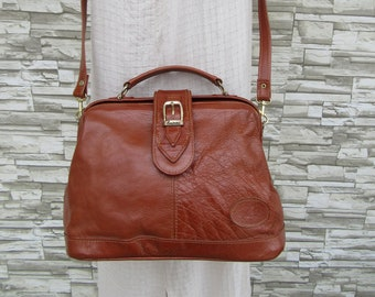 80s Whiskey Brown Leather Crossbody Satchel 167d570750851