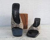 90s Minimalist Square Heel Leopard Mules, Leopard Print Mules, 90s Slides Sandals Shoes, Open Toe Block Heel Mules, 6.5 EURO 37 Arden B