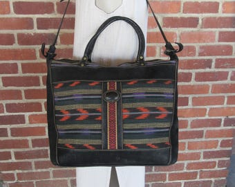 a5fa2546928 SOuthwest Leather And Indian Blanket Overnight Bag, Gym Bag, Carry On,  Carry All, Unisex Duffel Toe Handbag Satchel Kilim Bag 80s 1980s 70s